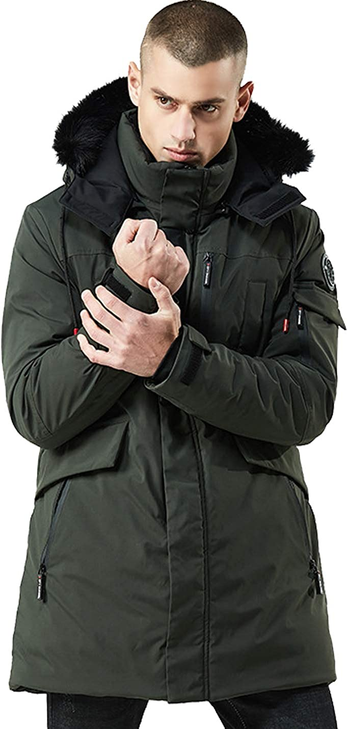 Flygo Men's Winter Cotton Down Quilted Jacket Paka Coat with Removable Hood