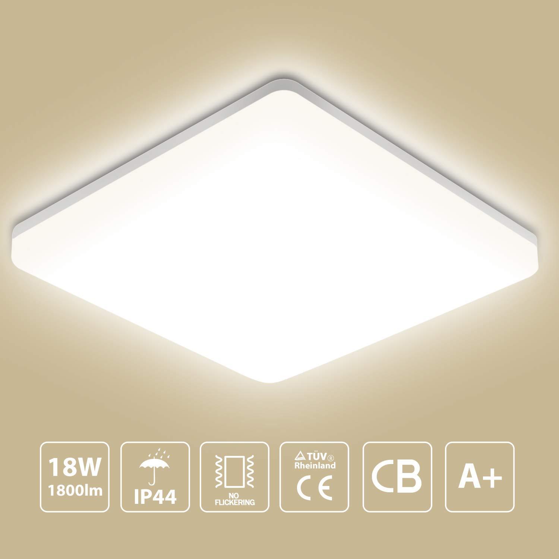 Oeegoo 20W LED Deckenleuchte Bad, 2000LM Flimmerfrei Badezimmerlampe  ersetzt 20W Glühbirne, IP20 Feuchtraumleuchte für Wohnzimmer, Küche,  Balkon, ...