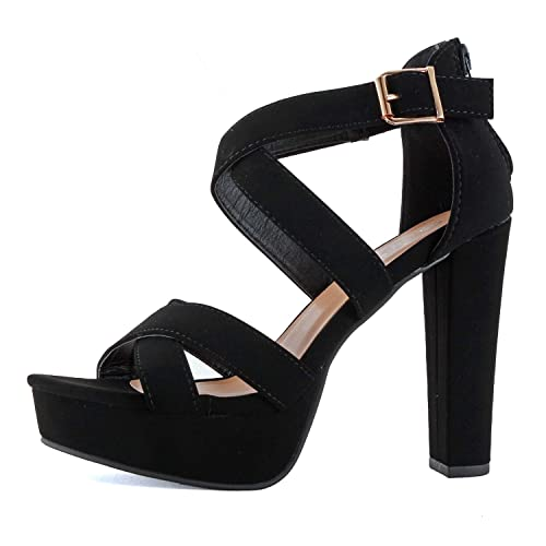 b9ae9413a32 Guilty Shoes Womens Platform Ankle Strap High Heel - Open Toe Sandal Pump -  Formal Party