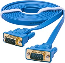 DTECH 3mUltra Slim Flat Computer Monitor VGA Cable 10 Feet 15 Pin Male to Male Connector Wire - Blue