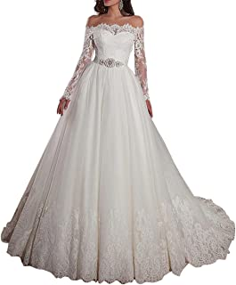 Women's Off-The-Shoulder Neckline Ball Gown Wedding Dresses with Lace Appliques