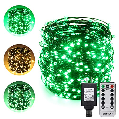 ErChen Dual-Color LED String Lights, Green Copper Wire Plug in 165 FT 500 LEDs Dimmable Fairy Lights with UL Adapter Remote Timer 8 Modes for Christmas Party Wedding (Green/Warm White)