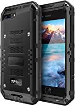Beasyjoy Phone Case Compatible with iPhone 7 Plus 8 Plus, Heavy Duty Built-in Screen Full Body Protective Waterproof Shockproof Drop Proof Tough Rugged Metal Military Grade Defender Outdoor Black