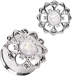 Cocobul Body Jewelry Pair of 316L Stainless Steel Flower Tunnel Plug with White Synthetic Opal
