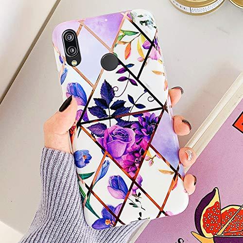 [Marmor Muster] Ysimee Hülle Kompatibel mit Huawei P20 Lite - Glänzend Cover Stoßfest Handyhülle, Marble Case Dünn Weich Rückschale aus Handyhülle Schutz Case Cover, Marmor - Lila Blume