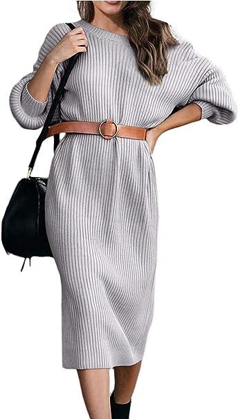 Ancapelion Damen Backless Jumper Kleid Langarm Gestrickt Kleider Midi Lange Stricken Kleid Fur Herbst Winter Amazon De Bekleidung