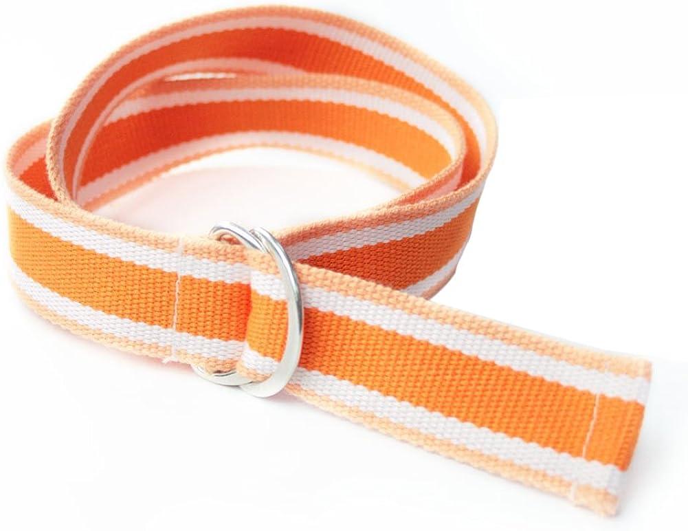 Gardening Spring Kids' Rainbow Stripes Belt Double D-ring Buckle Canvas Belt 34