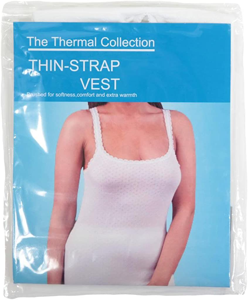Louise23 Ladies Winter Warm Thermal Underwear Womens Thermal Thin Strap Vest Top S-XL