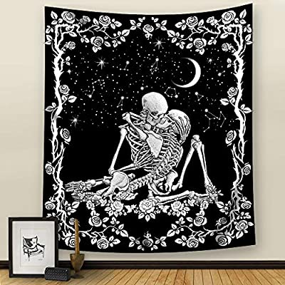 """Pinata Skull Tapestry The Kissing Lovers Tapestry Wall Hanging, Black and White Romantic Constellation Skeleton Tapestry for Living Room Bedroom Dorm Decoration (51.2"""" x 59.1"""")"""