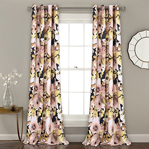 Lush Decor 16T002398 Floral Watercolor Room Darkening Window Curtain Panel Pair, 84' x 52', Navy and Pink