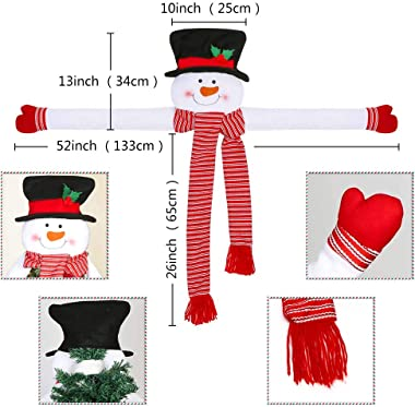 OurWarm Christmas Tree Topper Snowman Hugger with Large Hat Shawl and Poseable Arms Holiday Decorations Winter Wonderland Dec