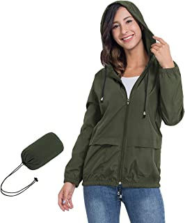 Women's Lightweight Hooded Waterproof Raincoat Windbreaker Packable Active Outdoor Rain Jacket