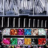 Acrylic Nail Art Kit, False Nails Acrylic Kit - 100 Pieces Clear French Nail Tips Coffin Fake Nails with 12 Colors 3D Butterfly Nail Glitter Sequins for Salons and Home DIY Decor