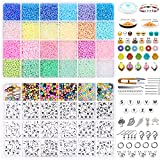 14400pcs 3mm 8/0 Glass Seed Beads Kit,24 Colors Pony Seed Beads Alphabet Letter Beads with Open Jump Rings,Jewelry Pendants,Elastic String for Adult DIY Bracelet Necklace Jewelry Making Supplies