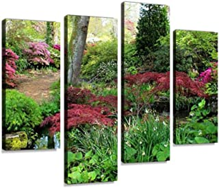 4 Panel image of woodland garden, with stream, bog plants, japanese maples Canvas Pictures Home Decor Gifts Canvas Wall Ar...