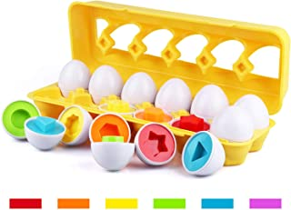Tinabless Color Matching Egg Set - Toddler Toys - Learn Color & Shape Match Egg Set - Educational Toys - Easter Gift for 18 Months Baby and Up (12 Eggs)