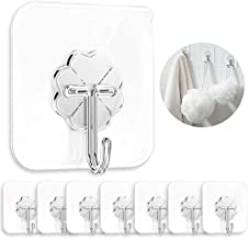 CENXOR Adhesive Hooks 20 Pack Heavy Duty 13lb(Max) Transparent Reusable Seamless Stainless Steel Strong Wall Hooks Kitchen...