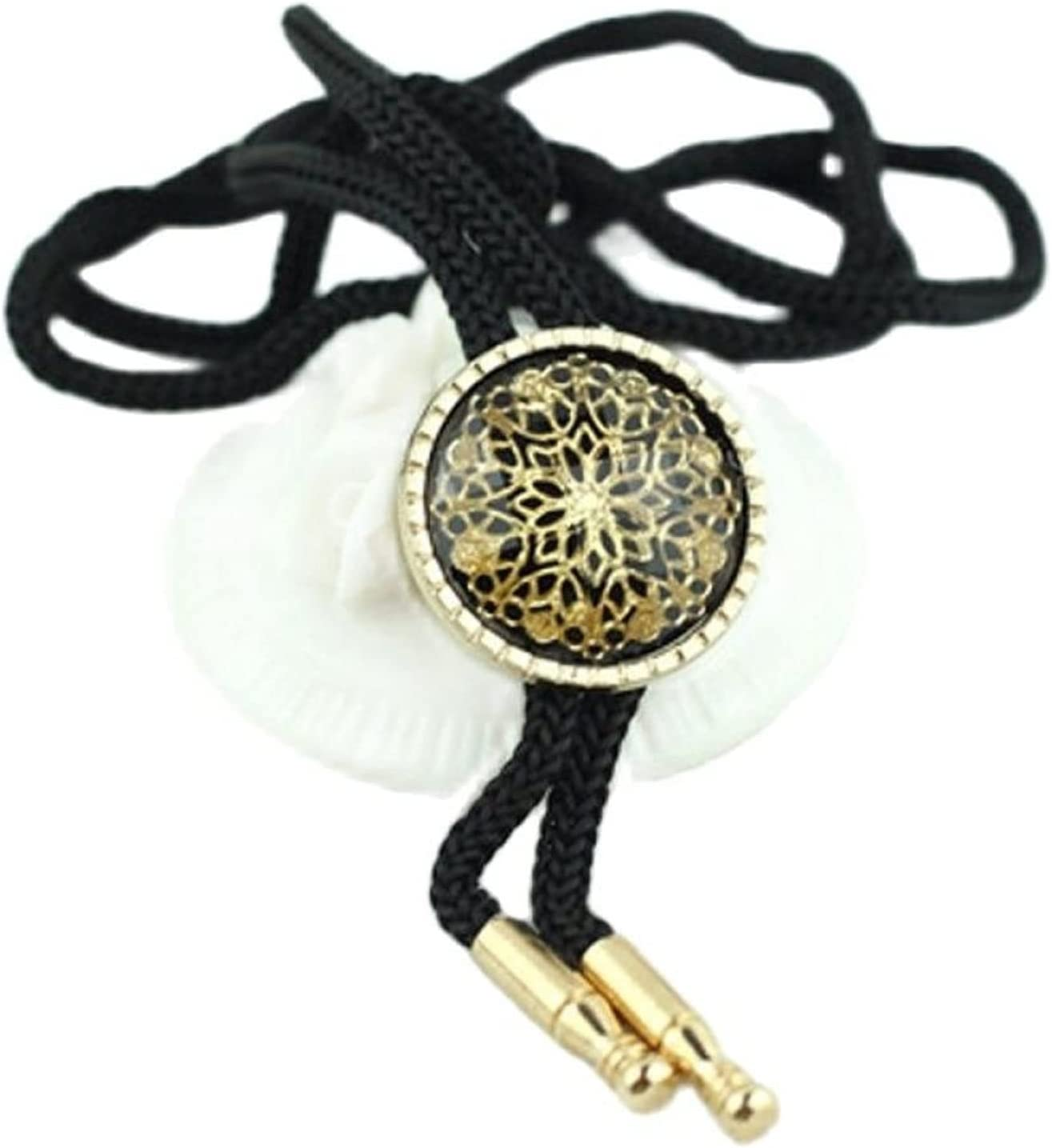YPYSD Bolo Ties Fashionable Bolotie Unisex Jewelry Fashion Flower Round Pendant Necklaces Dance Bolo Tie Western Cowboy Rope Belt Necktie for Men and Women Ties