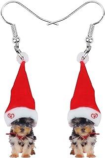 NEWEI Acrylic Christmas Hat Yorkshire Yorkie Dog Earrings Dangle Animal Trendy Jewelry For Women Girls Charm