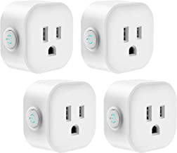 Smart Plug, Wifi Smart Outlet Switch Compatible with Alexa & Google Assistant, Remote Control Your Devices Anywhere, Voice Control with Echo & Google Home, IFTTT, No Hub Required, 4-Pack