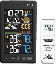 Nrpfell Enchufe de la UE, EstacióN MeteorolóGica Temperatura Humedad Pantalla LCD InaláMbrica Colorida con PronóStico MeteorolóGico Del BaróMetro