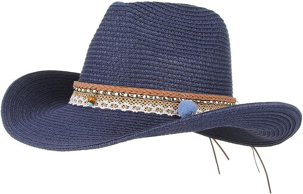Jelord Summer Cowboy Cowgirl Hat Unisex Roll up Brim Fedora Straw Sun Hat Western Cowboy Hat Straw Beach Cap