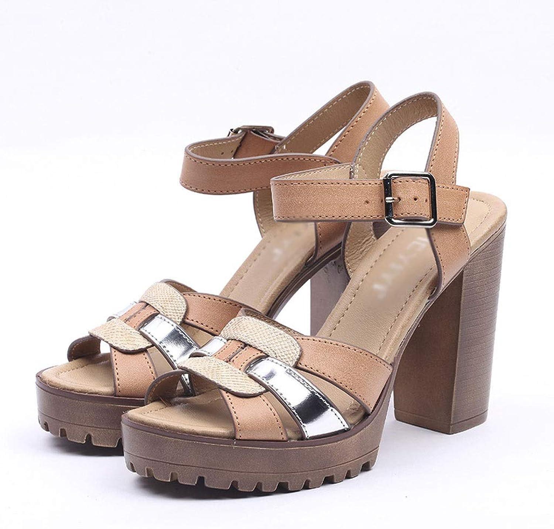 High-Heels Sandalen, Sommer Damen Ultra High Heels Sandalen sexy offene Zehennhte Farbe Fischmund wasserdicht Plattform Metall Gürtelschnalle dick mit High Heels Sandalen