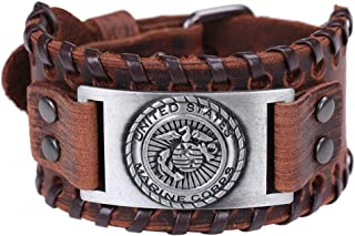 Vassago United States Marine Corps Army Military Patriotic Medallion Charm Brown Leather Bracelet Gift Jewelry