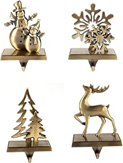 4 Pcs Set Christmas Stocking Holder Antique Bronze Color - Mantle Clip Stocking Holder - Christmas Stocking Holders For Fi...