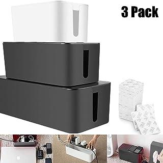 Caja organizadora de cables de 3 x A + seleccionada caja organizadora de cables de escritorio grande – Organizador de cables de TV para cable de extensión, color negro