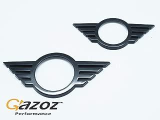 GAZOZ PERFORMANCE Front & Rear Glossy Black Emblem Badge Cover Overlays for 2019-Up Mini Cooper F55 F56 F57 LCI After Facelift Model