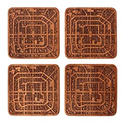 """Handmade Original design ideal gifts. Made by Natural Sapele wood. Very elaborate map details. Size: 9.2x9.2x0.4cm, (3-5/8""""×3-5/8""""×1/8"""") for 1 piece Vintage feel, Set of 4. This Would Be A Perfect Gift For Your Friends And Family On House Warming, We..."""