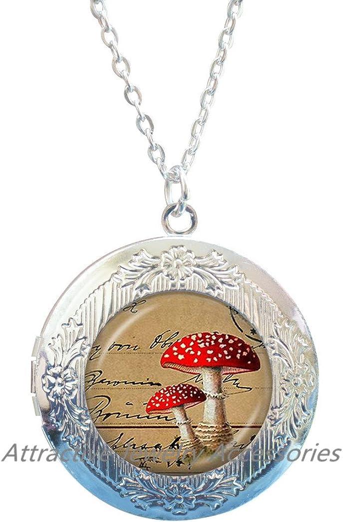 Mushroom Locket Necklace Mushroom Jewelry Mushroom Locket Pendant Wearable Art Locket Pendant Charm,Best friend Locket Necklace,QK148