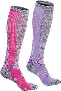 Womens Ski Cotton Socks Warm Stockings for Camping Hiking 2 Pack