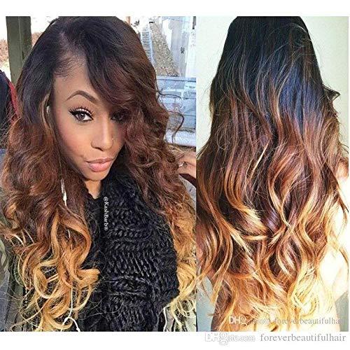SEXYY Perruque Afro 30 pouces Lady Black Brown Ombre perruques Big Wavy longs cheveux bouclés pleines perruques,Résistant à 157% à la chaleur - Perruques en fibres synthétiques