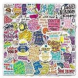 Later Dibujos animados inspiradores Inglés graffiti pegatinas maleta portátil coche motocicleta decoración pegatinas 100pcs