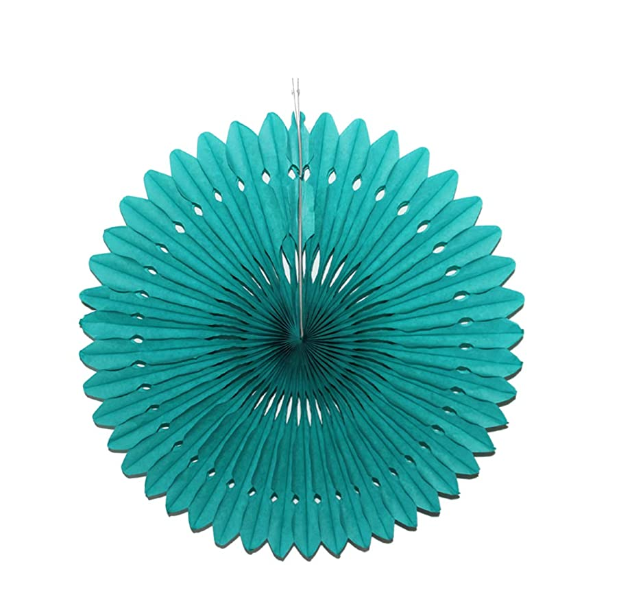 Dailygo 5pcs Hanging Paper Fans Party Paper Fan Decoration Tissue Paper Fans Honeycomb Paper Pom Poms Wall Backdrop Wedding Birthday Decor (Teal, Hollow-10'')
