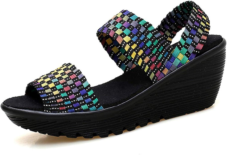 Hoxekle kvinnor sommar skor Woven Slingback Slingback Slingback Sandals Peep Toe Wedge Platform Sandaler Femme Slip on Sandals  bästa försäljningen
