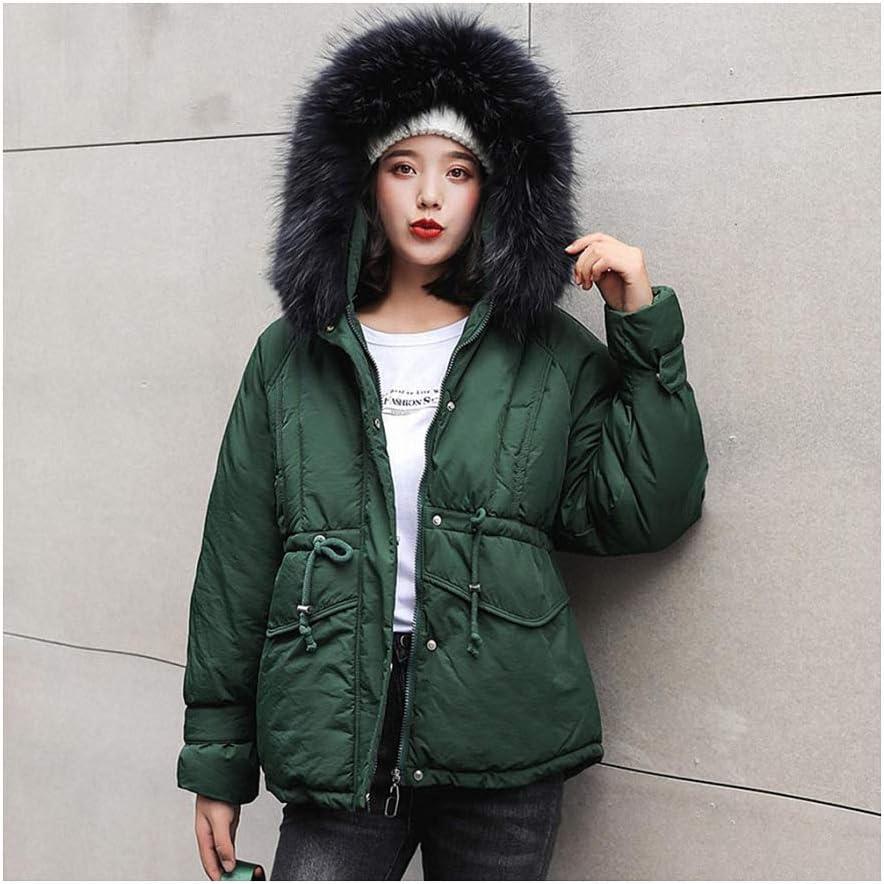 Winter Jacket Women Faux Fur Collar Hooded Female Winter Coat Women Thick Parka Down Cotton Clothing Green L