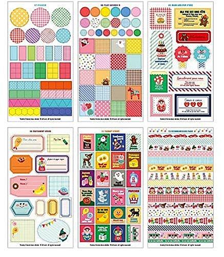 Cdet 12X Hojas Lovely Yummy Friends Etiqueta Adhesiva Adhesiva Cinta/Kids Craft Scrapbooking Sticker Set para Diario, Álbum