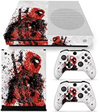 Best Microsoft Xbox One S Skin Decal Sticker Set – Deadpool (1 Console Sticker + 2 Controllers Decal Stickers + 2 Small Random Pattern Stickers, White Version) Review