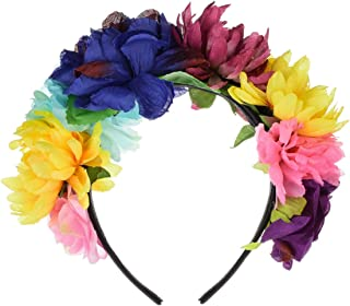 DreamLily Day of The Dead Headband Costume Rose Flower Crown Mexican Headpiece BC40
