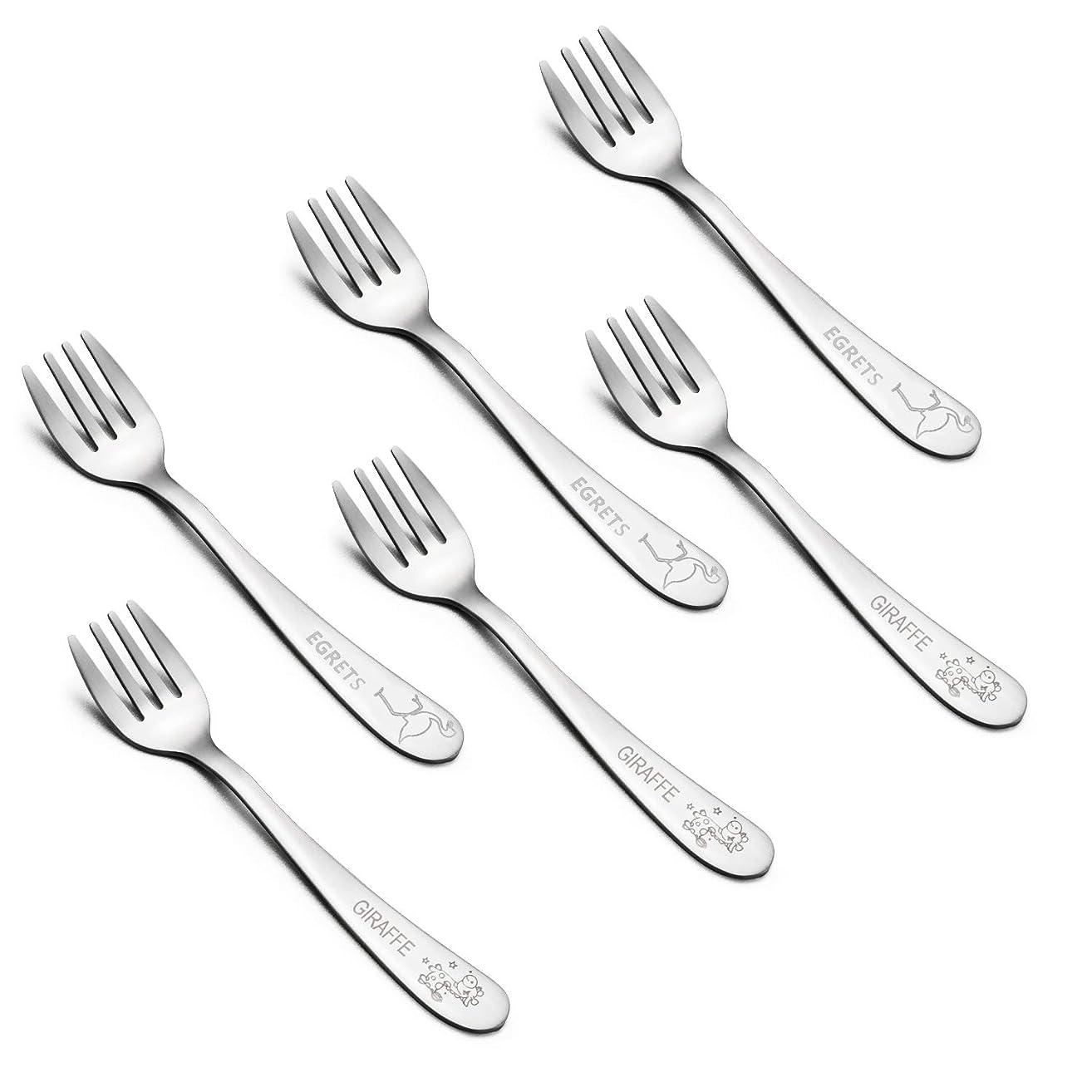 Kids Forks, E-far Stainless Steel Toddler Baby Fork Set, BPA Free & Cute Animals Pattern, Matte Polished & Dishwasher Safe - 6 Pack
