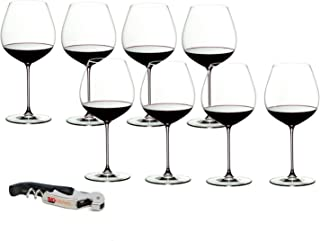 Riedel Veritas Crystal Old World Pinot Noir 8 Piece Wine Glass Set with Bonus BigKitchen Waiter's Corkscrew