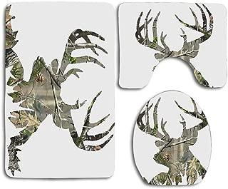 zhurunshangmaoGYS Camo Deer Silhouette Bathroom 3 Pieces Set (1 Bath Rug, 1 Contour Mat, 1 Lid Cover) with Non-Slip
