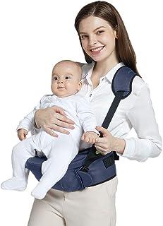 حامل مقعد الورك للأطفال الرضع للأطفال الرضع مع حزام أمان قابل للتعديل، جيب مريح، قاعدة ناعمة، أزرق