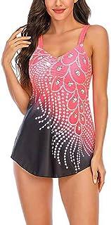 ملابس سباحة نسائية من قطعتين مطبوع عليها لصق عتيق تنورة ثوب سباحة ملابس بحر ملابس سباحة نحيفة للنساء سروال سباحة