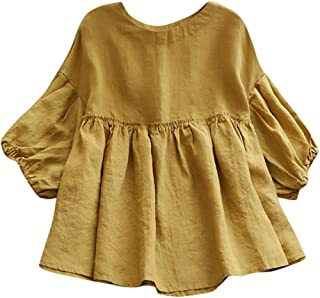 LISTHA Linen Peplum Shirts Women Cute Half Sleeve Top Round Neck Solid Blouse