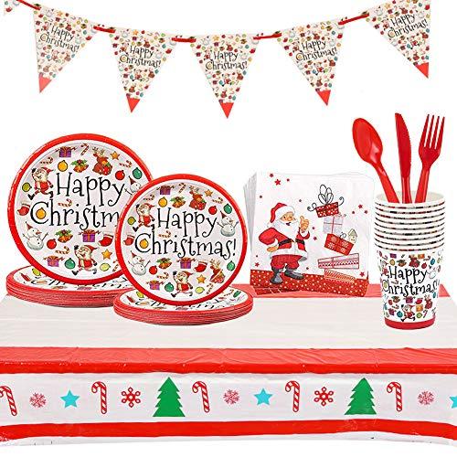 Set di stoviglie usa e getta da 82 pezzi,Feste di Natale Articoli per la tavola di Compleanno, include piatti di carta, tovaglioli,Bicchiere di carta, completi per feste natalizie a tema natalizio