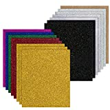 JANDJPACKAGING Glitter Heat Transfer Vinyl for T-Shirts,15 Pack -12'x 10' Sheets - 9 Assorted Colors, Starter Iron On Vinyl HTV Bundle for Cricut and Silhouette Cameo